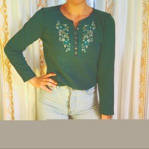 VTG Floral Embroidered Thermal Longsleeve Top
